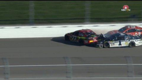 .@Erik_Jones almost goes up and over at @KansasSpeedway!   #NASCARPlay...