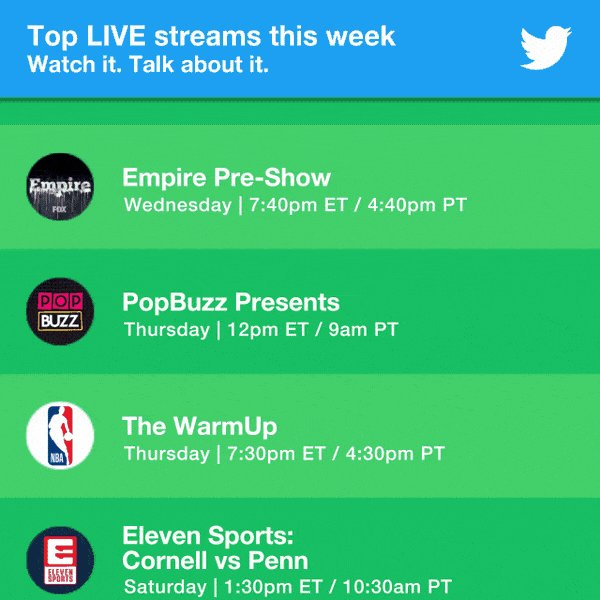 RT @TwitterLive: LIVE it up. Don't miss these streams, and many more with @TwitterLive. https://t.co/8LFdo6WXcO