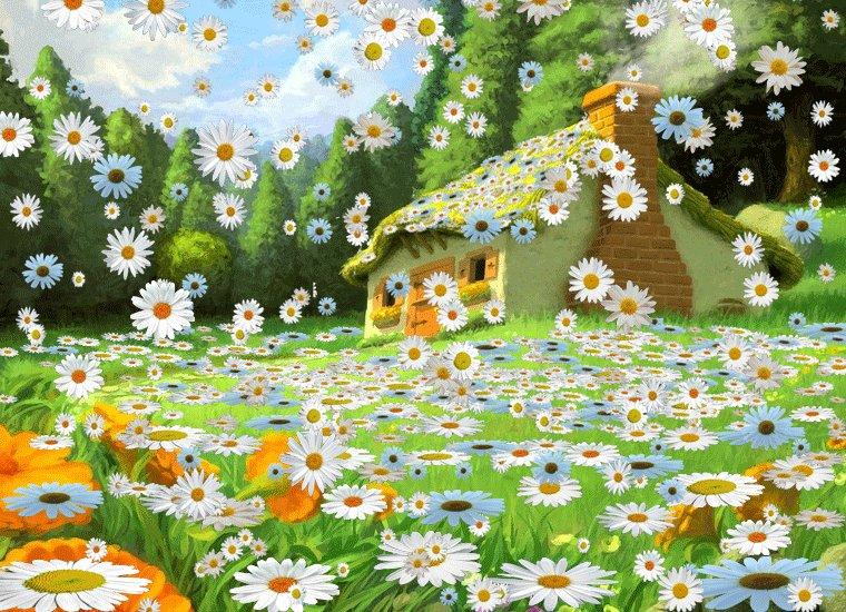 Картинка анимация полянка для детей
