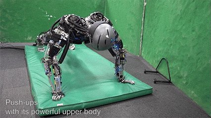 This robot can do push-ups. It even 'sweats' to keep the motors of its muscles cool. https://t.co/EWtDZ6y8ye