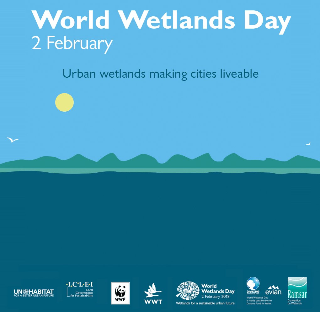 World Wetlands Day 2018 theme announced:  #Wetlands for a #sustainable #urban future   Urban wetlands make #cities more liveable.   #KeepUrbanWetlands #UrbanWetlands #WWD2018 @WWF @RamsarConv @WWTworldwide @ICLEI  https://t.co/ZwjJvD4V7l