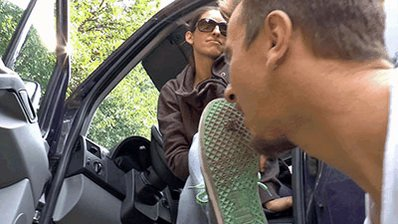 Slave eats chewing gum from dirty #sneak...