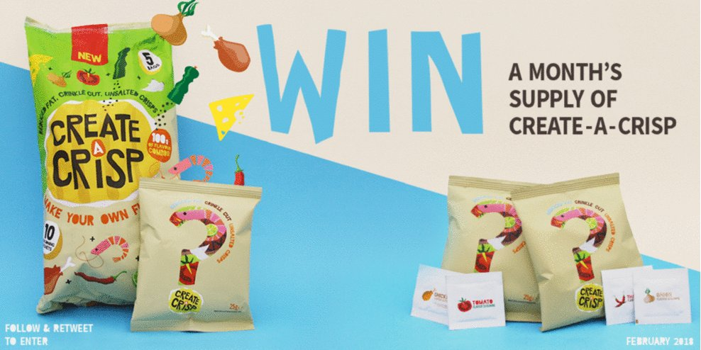 FOLLOW & RT to enter our #competition... You could #WIN a MONTHS SUPPLY of our #CRISPS!! #WinItWednesday
