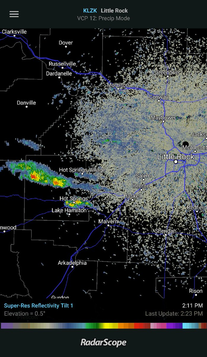 Showers developing around the Hot Spring...