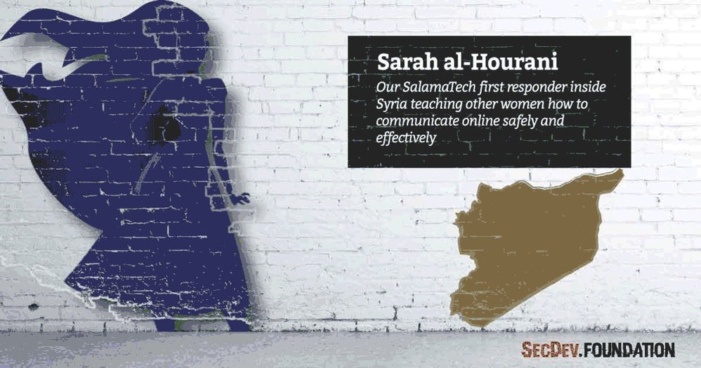 Sarah al-Hourani - @SalamaTech digital first responder inside Syria teaching other women how to communicate online safely and effectively #sheinspiresme #PressforProgress #womensday #cyberwomen2018 https://secdev-foundation.org/cyber-women-2018/ …