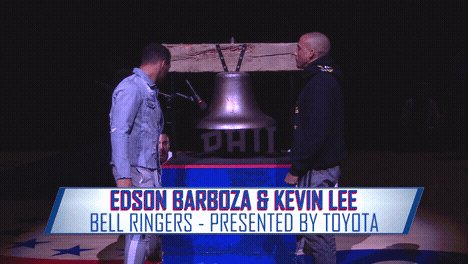 .@UFC's @EdsonBarbozaJR & @MoTownPhenom ringing us in! 🛎🔨