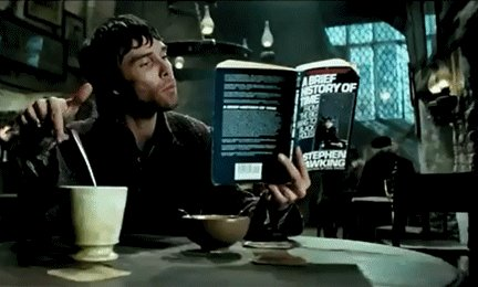 A wizard is reading A Brief History of Time in The Leaky Cauldron in Prisoner Of Azkaban (film), & #FantasticBeasts star Eddie Redmayne received an Oscar for portraying him on the big screen. Join us in raising our wands to Stephen Hawking on #GeniusDay  /* #RIPStephenHawking