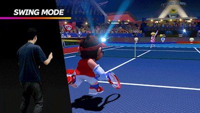In Swing Mode of #MarioTennis Aces, players can use their Joy-Con controllers like a tennis racket, swinging them to replicate the tennis swings in the game!