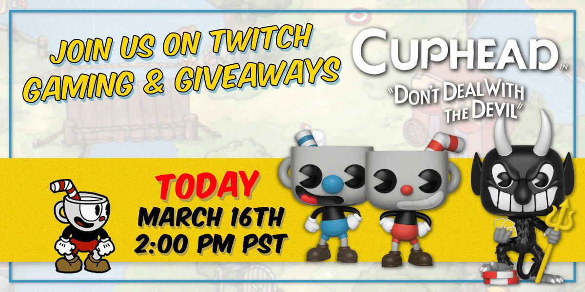 RT & follow @OriginalFunko now for a chance to WIN a set of #Cuphead Pop!s & join us at 2pm PT for a live stream with MORE giveaways!!  🎮 twitch.tv/originalfunko