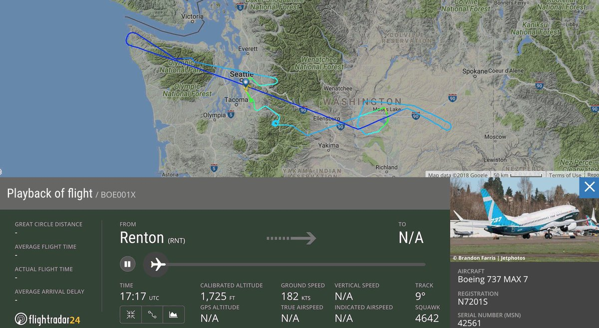 First flight of the @BoeingAirplanes  #7...