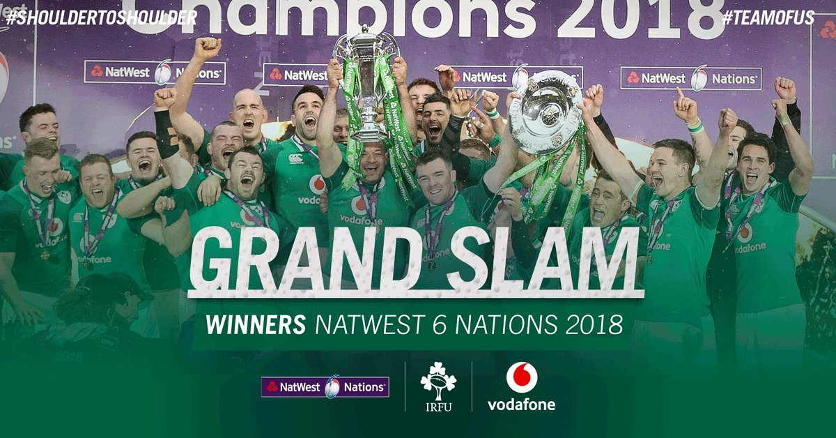 Grand Slam Winners! What a feeling! Thank you all for your fantastic and continued support! #ShoulderToShoulder #TeamOfUs #ENGvIRE