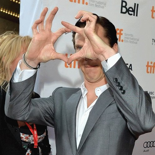 Gif a Benedict trying to make a heart with his hands in order to celebrate his birthday today