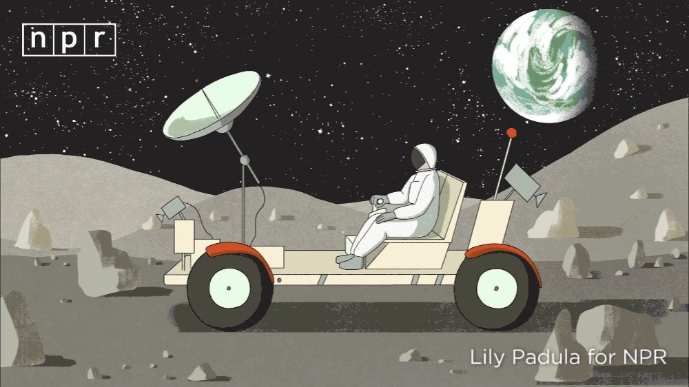 "(3/3) Driving on the moon is way more extreme than off-roading on Earth: there's 6 times less gravity –– if you hit a rock, you'll go flying.  So engineers created airless tires made of springy, woven steel wire –– paving the way for today's ""spring tire."" https://n.pr/2Y3wgEC"