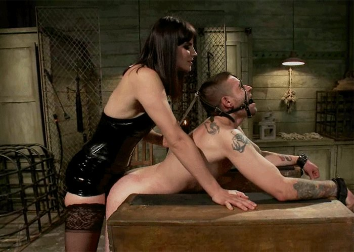 Sadistic strapon domme rips into male slaves ass free porn images