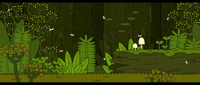 A fennel and fern forest.