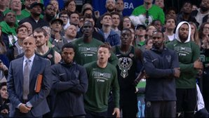 Delly at the buzzer!  Bucks lead Celtics 24-17 after the 1st QT.