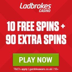 Image for the Tweet beginning: #ladbrokes 10 #free #spins plus