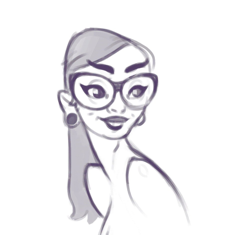 the last girl was ugly, I fixed it #girl #glasses #nougly #pleaseno #process #draw #digitalart #art #portrait
