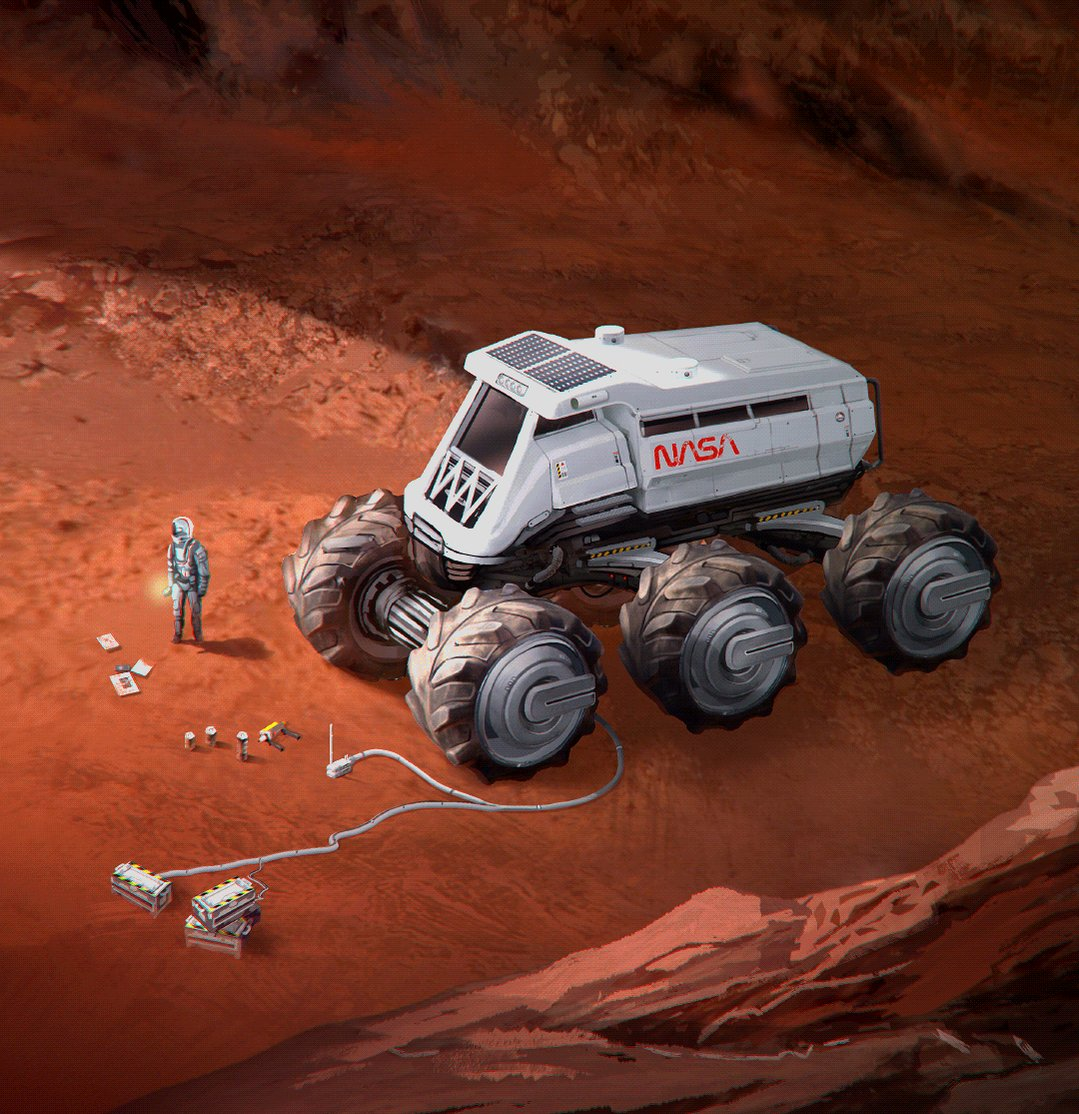 Ain't it funny what you can do to a yellow toy truck? #mars #scifi #conceptart #polycount #illustration #gameart