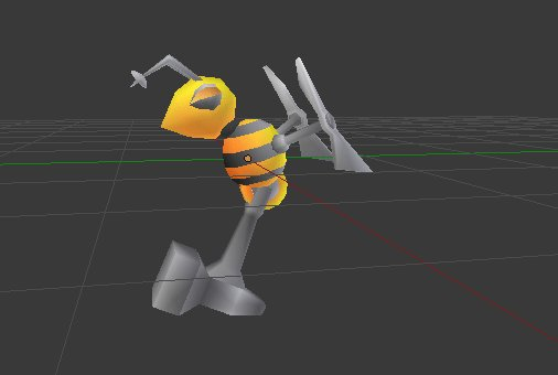 #lowpoly carpenter bee robot with hammer sting. #gamedev #indiedev