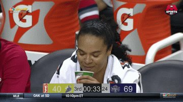 .@KristiToliver sippin some tea on the bench and enjoying the show.😂 #MysticsSky #WNBAVote
