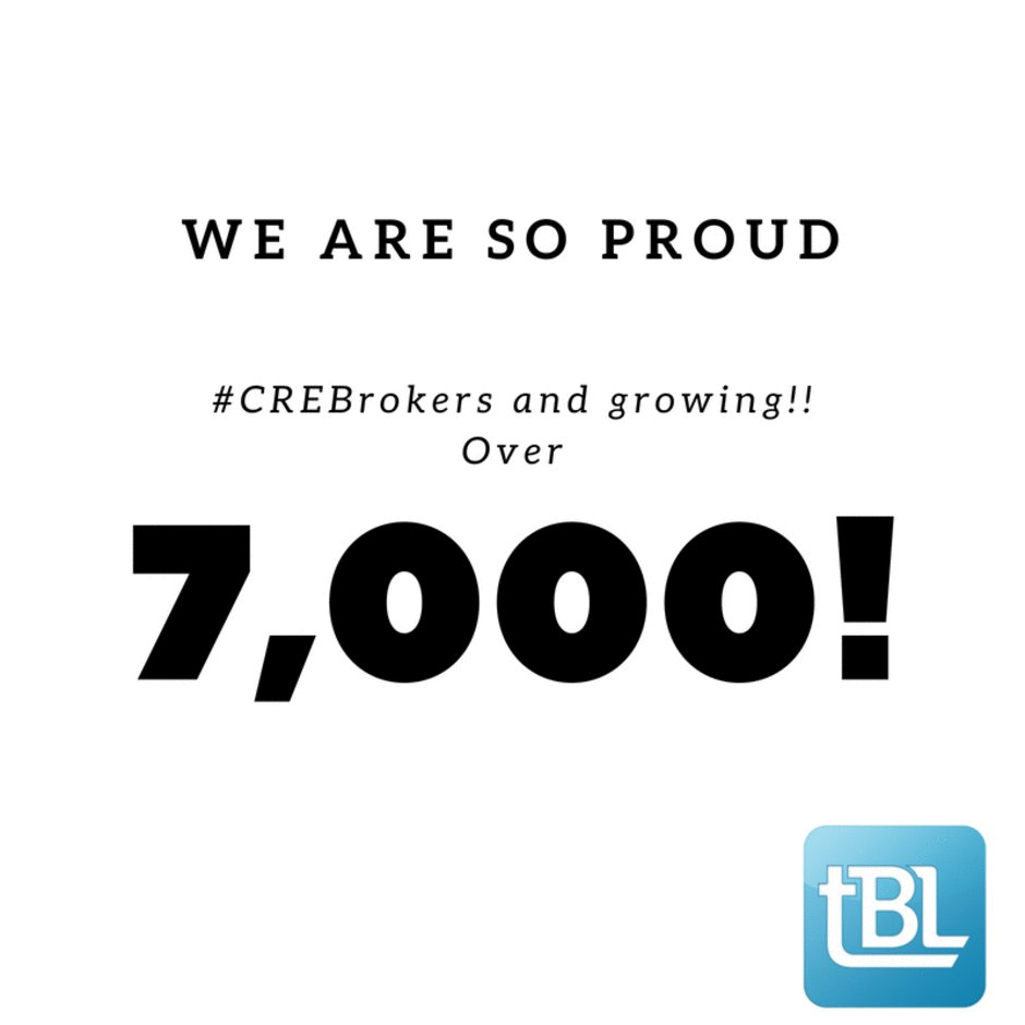 Wow, noticed we had over 7,000 #CREbroker members today! We sure thank all of you who have supported us from the beginning and thank you for the amazing journey! @Mike_Hironimus @JimResha @ElenaCWall @KristinaBKonen #CRETech