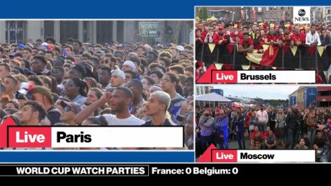 ABC News Live On Twitter Watching The WorldCup Go To Tco MeN3sSP78n Watch Along With Fans Of France And Belgium In Paris Brussels