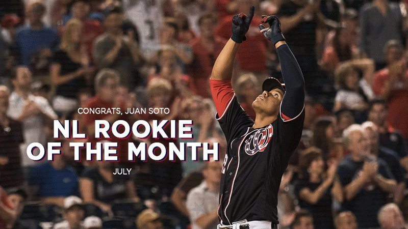 Juan Soto has been named @MLB's BACK-TO-BACK NL Rookie of the Month!   #ChildishBambino // #OnePursuit