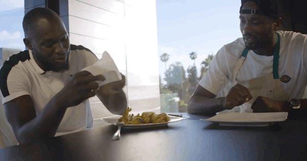 It looks like a hand, bro. 😂 NBA star @sergeibaka cooks chicken feet for Romelu Lukaku in latest episode of his own YouTube series: bit.ly/2nVLI5O