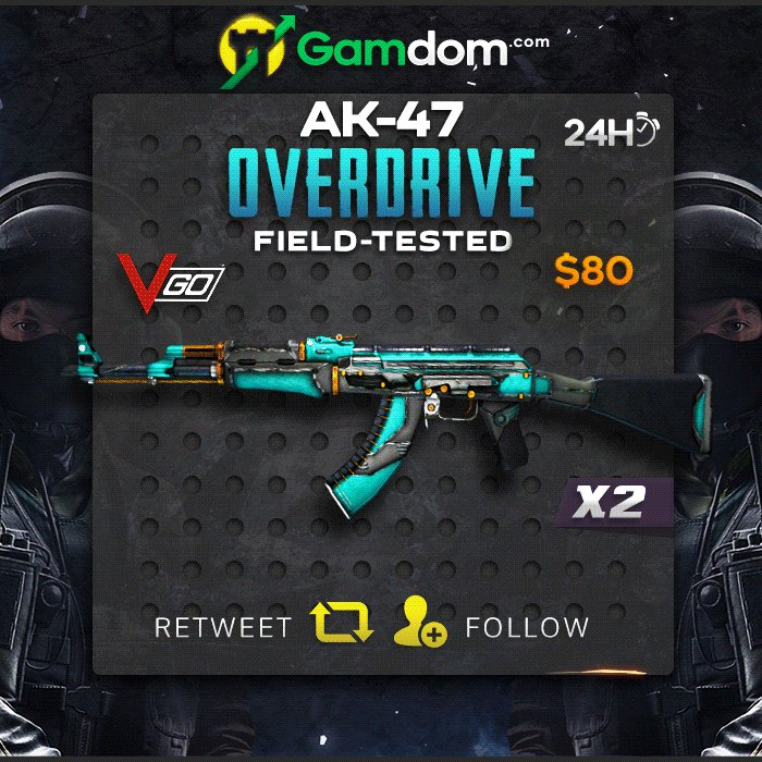 💎 Daily VGO Giveaway 💎  🎁 2x Field-Tested AK-47 | Overdrive 🎁  ✅ Retweet ✅ Follow us ✅ Post last 2 characters of your twitter username  2 Lucky winners will be chosen in 24 hours, good luck everyone!