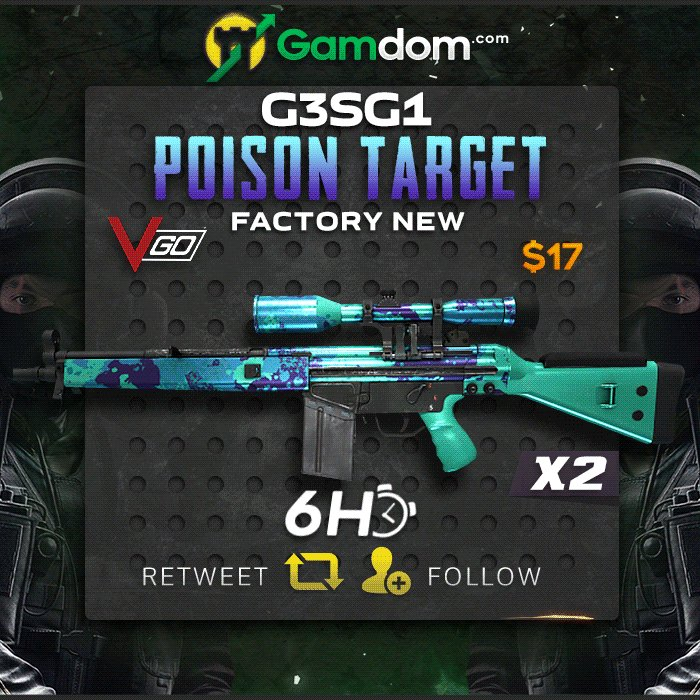 🌿 6 Hour VGO Giveaway 🌿  🌸 2x Factory New G3SG1 | Poison Target 🌸  ✅ Retweet ✅ Follow us ✅ Post first 3⃣ characters of your twitter username ✅ Visit http://bit.ly/Dmlyy   2 winners will be chosen in 6 hours, good luck everyone!