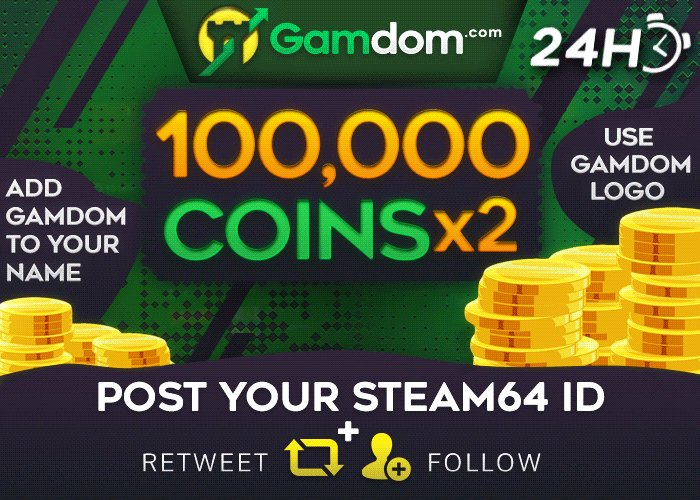 👑 Daily Coin Giveaway 👑  💸 2x 100,000 Coins 💸  🔸 Retweet 🔸 Follow us 🔸 Post your Steam64 ID 🔸 Add Gamdom to your name  🔸 Use Gamdom Logo 🔸 Visit http://bit.ly/Dmlyy   2 Winners will be selected in 24 hours, good luck everyone!