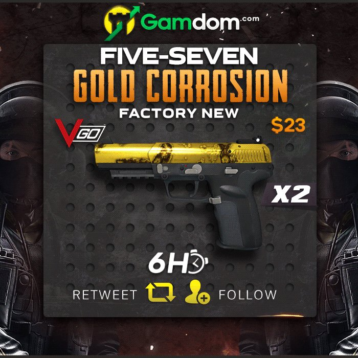 🍃 6 Hour VGO Giveaway 🍃  ⚜️ 2x Factory New Five-SeveN | Gold Corrosion ⚜️  ☑️ Retweet ☑️ Follow us ☑️ Check out http://bit.ly/Dmlyy   2 Lucky winners will be chosen in 6 hours, good luck everyone!