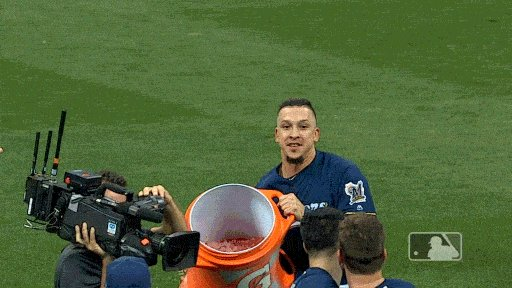 HP ran ALL THE WAY OUT TO CF with the @Gatorade cooler ... and missed. 🤣 A for effort.   #OurCrewOurOctober