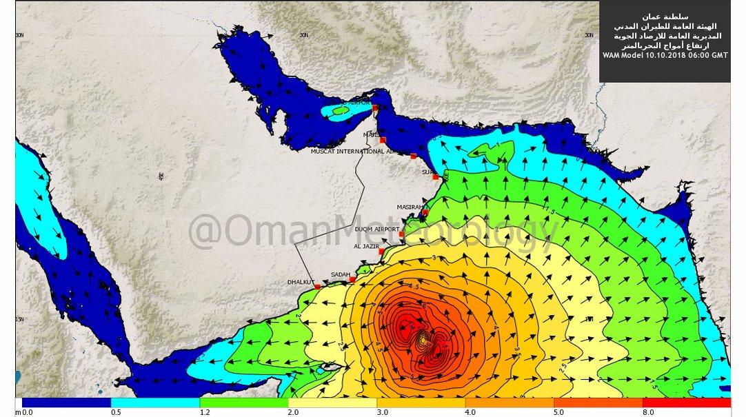 توقعات بإرتفاع موج البحر على سواحل السلطنة المطلة على #بحر_العرب مع اقتراب #الحالة_المدارية #اعصار_لبان كما تشير اليه النماذج العددية العمانية. #لبان #ArabianSea