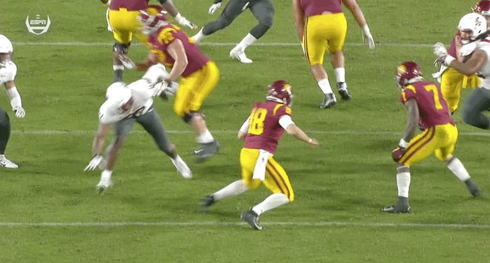 QUESTION OF THE DAY You are a college football ref. Is this hit of a QB considered #targeting ?   RT if yes; Reply if no.   #collegefootball  @pac12  #Pac12AfterDark  #USC  #WSU  #wsuvsusc  @PeteThamel