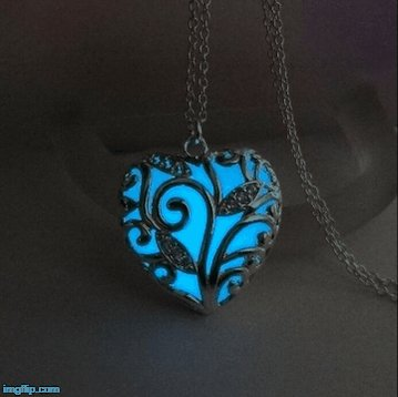 Turquoise Glow In the Dark Heart Necklace Pendant buff.ly/2HZyU6p