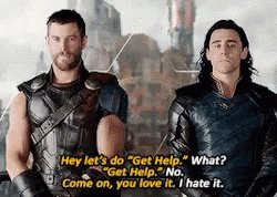 Tom Hiddleston revealed that he and Chris Hemsworth improvised the 'Get Help' scene on the spot while filming 'Thor: Ragnarok' (via @ACEcomiccon)