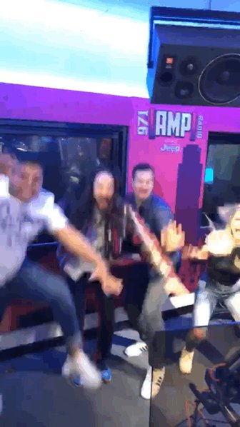 Shout out to @steveaoki for stopping by @971AMPRadio to premiere his new song #WasteItOnMe featuring @BTS_twt with @edgarisotelo @Chelsea_Briggs and myself this morning #AokiJump