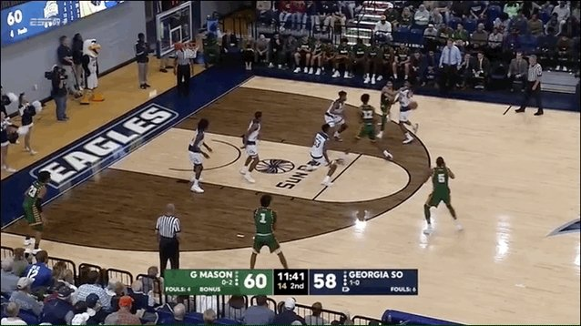 .@JDG_TheGreatest stays 🔥... with contact! The senior now has 23 points. Mason 65, GSU 63 (9:00 2H) #GetPatriotic