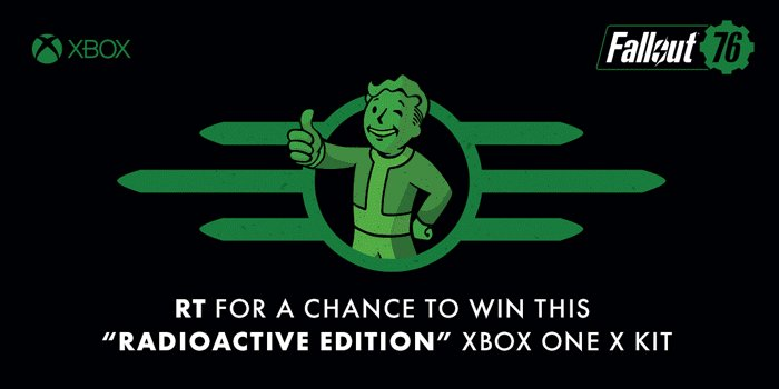 Set your V.A.T.S. on this Radioactive Edition Xbox One X kit inspired by #Fallout76! RT for a chance to win. Ends November 13. #Fallout76VIPXboxSweepstakes rules: https://xbx.lv/2zvIA6d