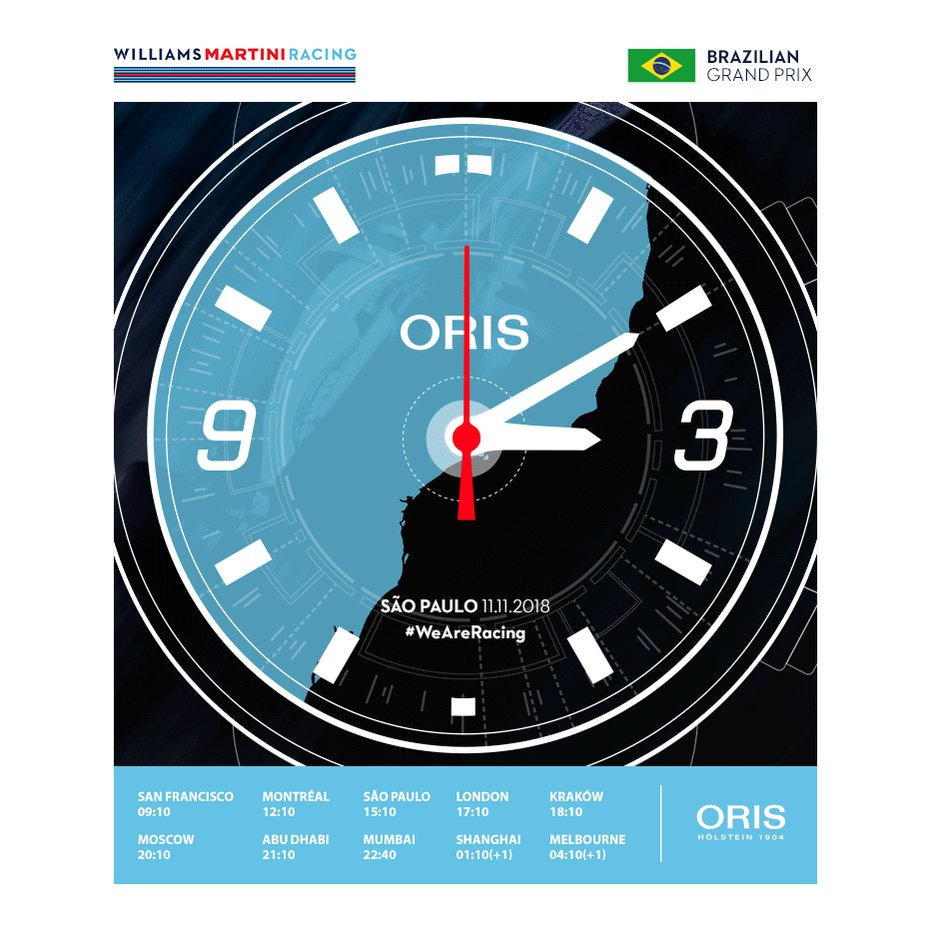 Find out what time lights out is for the #BrazilGP 🇧🇷 where you live thanks to @OrisWatches!