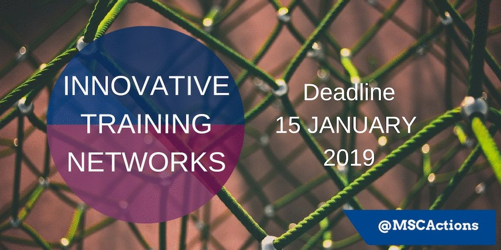 Image for the Tweet beginning: #MSCA Innovative Training Networks offer