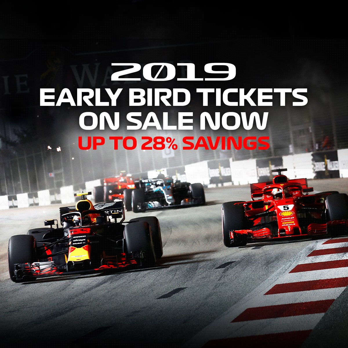Dont miss this chance to save up to 28% on Early Bird tickets for the 2019 #SingaporeGP if you buy them now at bit.ly/2N3yC0y! #F1   #Formula1