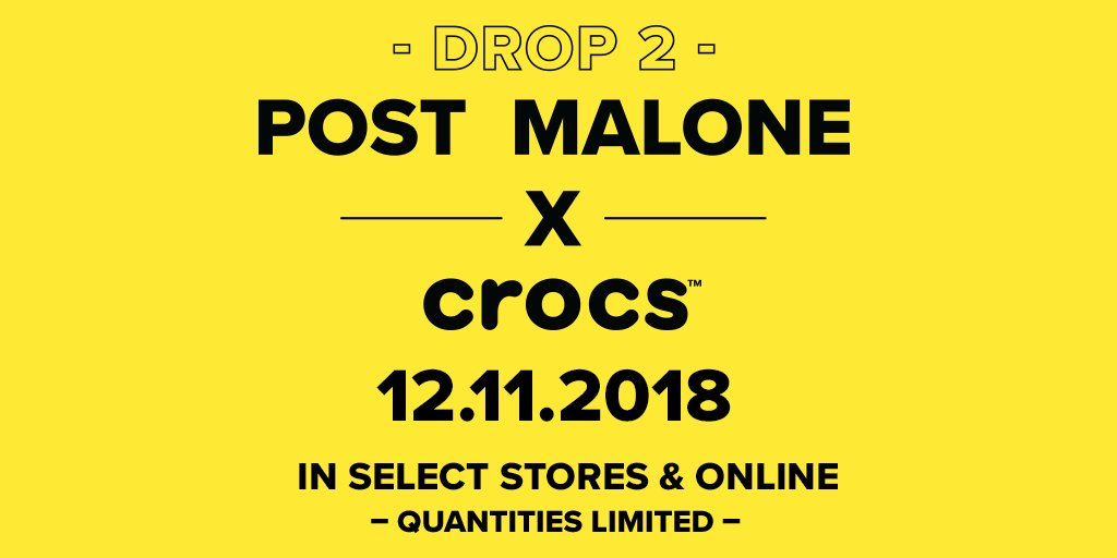 #PostMaloneXCrocs. 12.11.2018. In select stores & online.