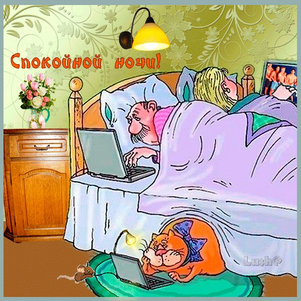 Открытка доброй ночи с юмором