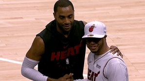 Wayne Ellington takes a picture with a @MiamiHEAT fan in Atlanta! #ThisIsWhyWePlay