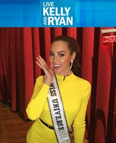 Thank you @LIVEKellyRyan for having #MissUniverse @CatrionaElisa on this morning's show! 💛