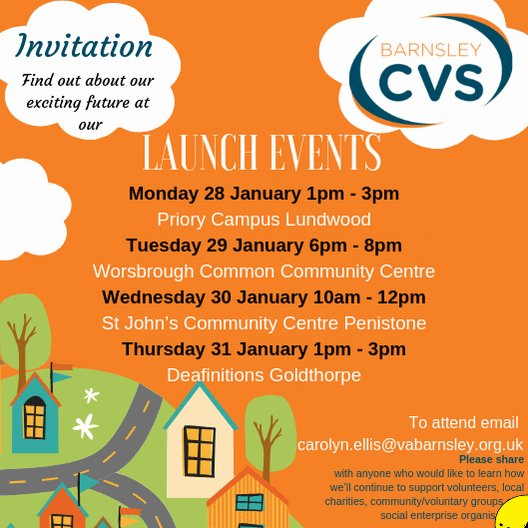 You're invited to @Barnsley_CVS launch events! We'd love to tell you about our plans, hear any suggestions and answer questions. It doesn't matter if we already work with you or not.  Find out what we do and how we can help you and your organisation. Book now! #barnsleyisbrill