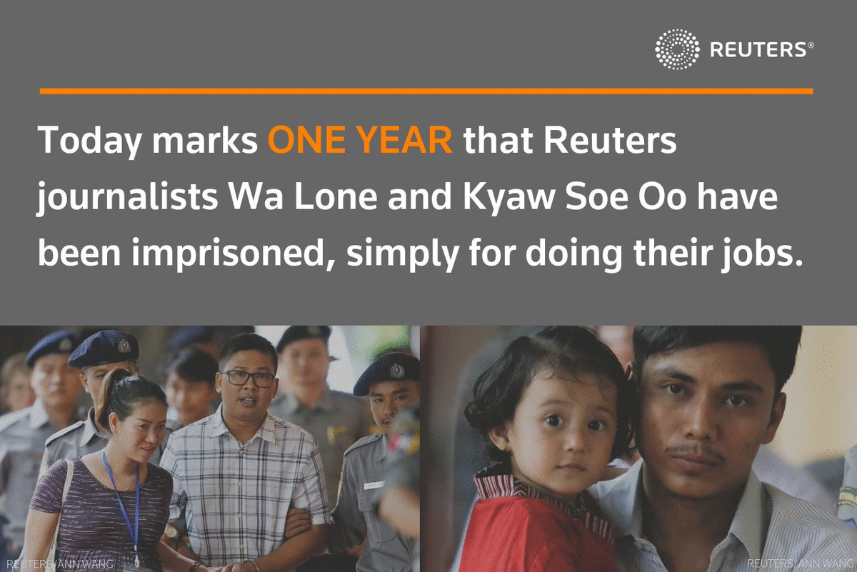 This is unacceptable! 😡 December 12th, 2018 marked their 1 year unjust imprisonment.  Let them go! ❤️ #FreeWaLoneKyawSoeOo @ReutersPR
